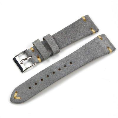 手錶錶帶 手工翻毛真皮錶帶19 20 22MM適配古董勞力士力洛克浪琴牛皮男錶鏈