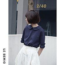 袁先生の家 出口針織面料  日系清新可愛娃娃領T恤/兩色入