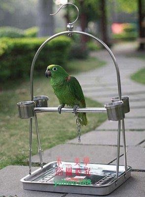 美學214鳥籠 不銹鋼鸚鵡站架鸚鵡籠鳥籠鳥架子鸚鵡架-便攜型3707❖16149