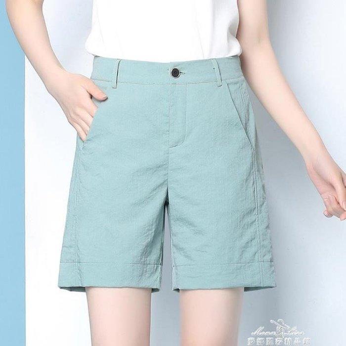 黑色短褲女新款百搭休閒五分褲女薄款寬鬆顯瘦闊腿短褲女
