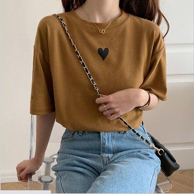YOHO 短袖上衣 (HH046126) 實拍百搭寬鬆愛心棉T T恤 有3色 S-XL