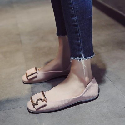 哆啦本鋪 仙女的鞋豆豆女單鞋日韓秋季淺口瓢鞋平底淑女方頭鞋子春 D655