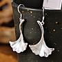 加恩s999足銀銀飾宮廷復古做舊銀杏葉造型耳飾耳環-zz09