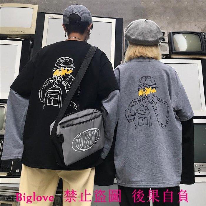 18韓國復古后背人像印花黑灰假兩件長袖T恤 男女款