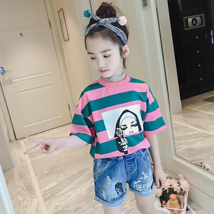 女童夏裝短袖t恤韓版純棉韓版中大童女孩上衣時尚體恤潮 奇思妙想屋