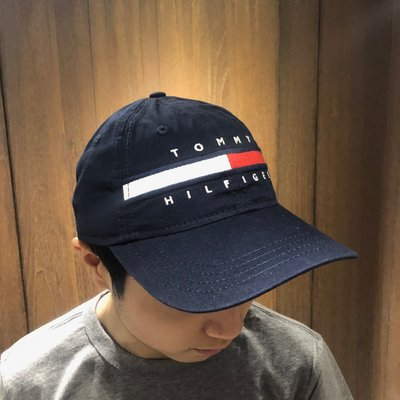 美國百分百【Tommy Hilfiger】帽子 TH  配件 棒球帽 遮陽帽 鴨舌帽 經典 LOGO 深藍色 AD98