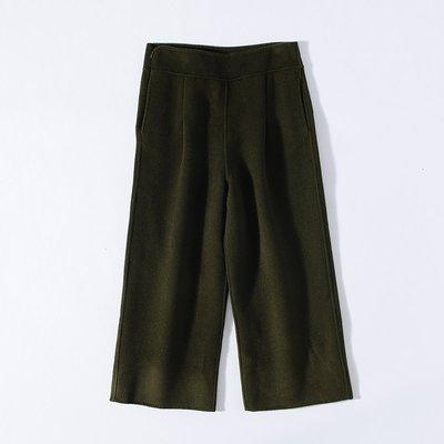 名媛! 奧系列 舒適高腰毛呢闊腿褲AJ91087 - 軍綠L