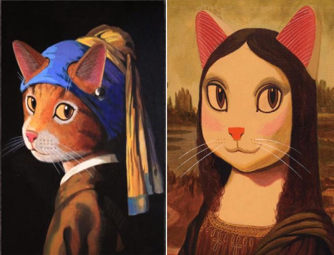 拼圖專賣店 UDN1000-001 1000-002 (1000片 貓.美術館 珍珠耳環的少女貓,貓.蒙娜麗莎)