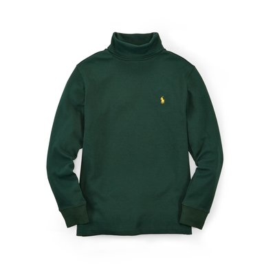 二手美國 Polo Ralph Lauren 綠色繡馬高領純棉T恤 大童S