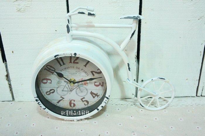 ~*歐室精品傢飾館*~Loft工業 美式鄉村 鐵製 仿舊 復古 數字 腳踏車 造型 桌鐘 時鐘 擺飾 裝飾~新款上市~