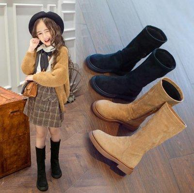 童鞋 秋冬長靴 兒童馬丁靴 高筒靴子女孩公主真皮過膝單靴—莎芭
