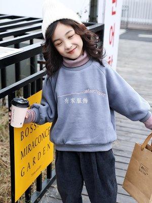 有家服飾2019冬裝新款女童加絨衛衣兒童中大童正韓假兩件加厚高領打底上衣