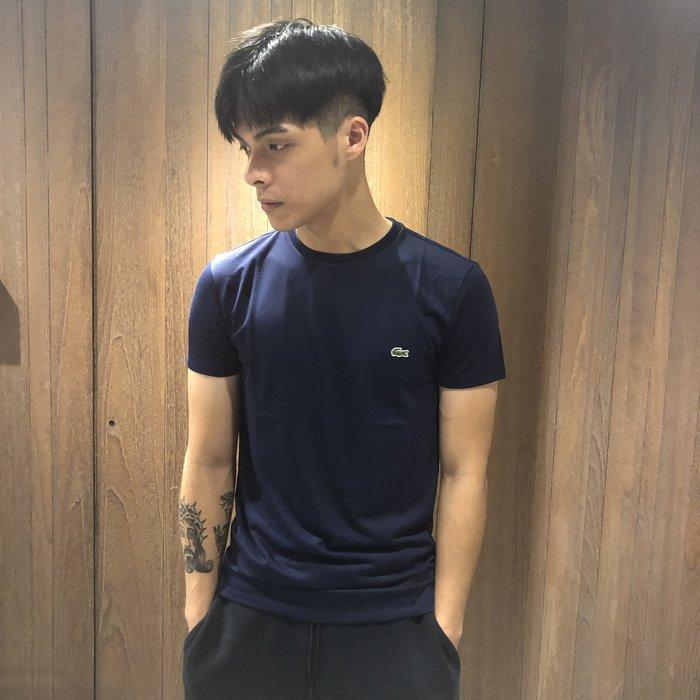 美國百分百【全新真品】Lacoste 鱷魚 T恤 T-shirt 短袖 上衣 圓領 logo 男款 藍白黑 K129