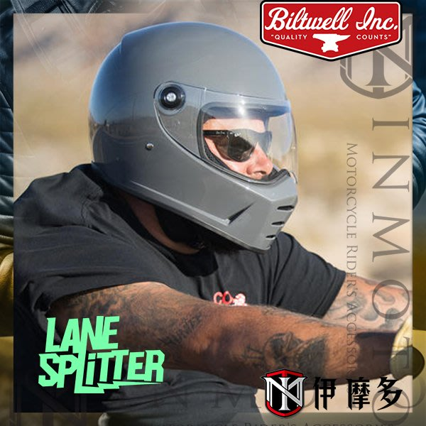 伊摩多※美國 Biltwell Lane Splitter 全罩安全帽 復古 美式 GLOSS STORM GREY石灰
