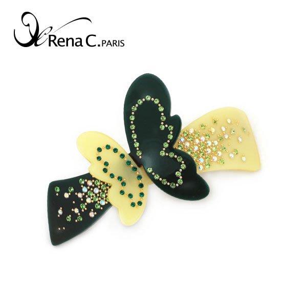 BHI1633-法國品牌RenaChris 施華洛世奇晶鑽滿鑽蝴蝶飛飛髮夾 馬尾夾 彈簧夾【韓國製】AngelRena