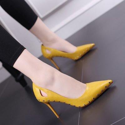 可開發票 鉚釘高跟涼鞋 女鏤空細跟高跟鞋z870
