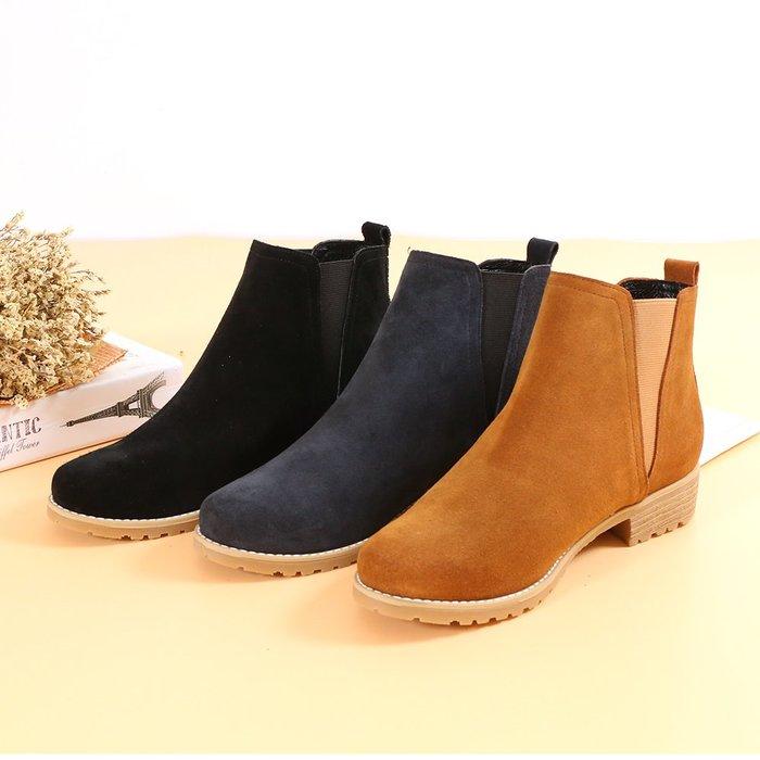 2716 百搭簡約防水麂皮鬆緊帶短靴 容易保養整理 柔軟氣墊底 機車靴 馬靴 MIT台灣手工鞋 丹妮鞋屋