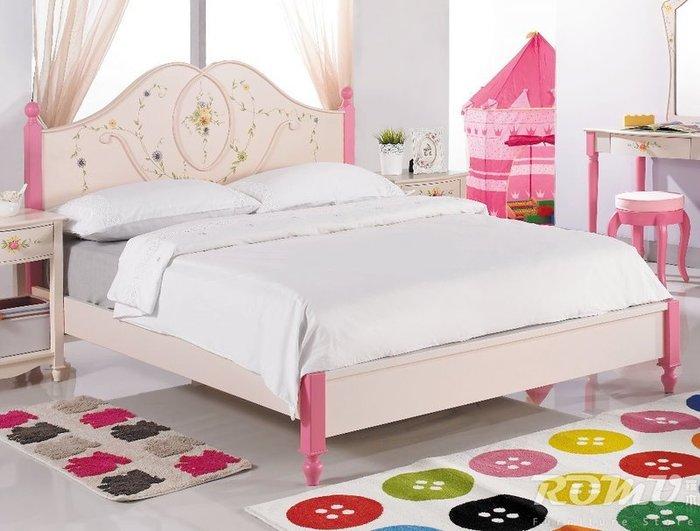 【DH】商品編號425-405-1商品名稱莎莎公主5尺粉紅彩繪雙人床架。歐風時尚雅緻精品。主要地區免運費