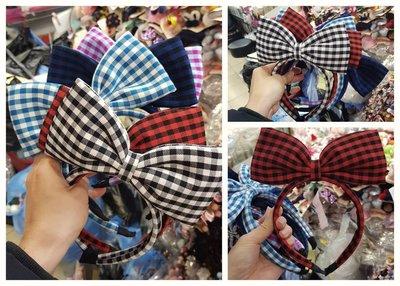 兒童韓國製格紋髮箍