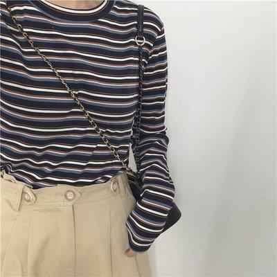 哆啦本鋪 長袖T恤 細條紋長袖T恤女 時髦復古撞色基礎打底衫 D655