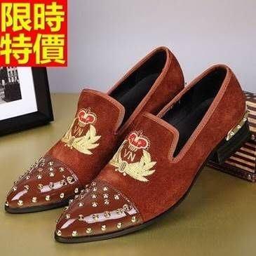 尖頭鞋 真皮皮鞋-個性鉚釘英倫刺繡低跟男鞋子3色65ai2[獨家進口][米蘭精品]