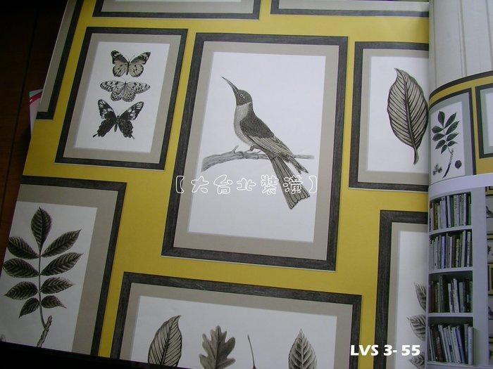 【大台北裝潢】LVS3進口平滑面純紙壁紙* 畫框葉子小鳥蝴蝶 每支1800元