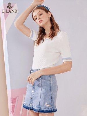【一分利優購】ELAND夏季新款韓版撞色V領T恤針織衫仙女顯瘦短袖EEKW924Q7N
