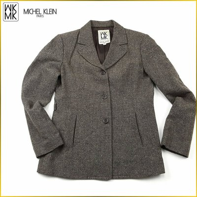 日本二手衣✈️日本製 MICHEL KLEIN 毛料外套 柔軟 粗花呢 羊毛外套 MK 日本女裝 *38* AF183M