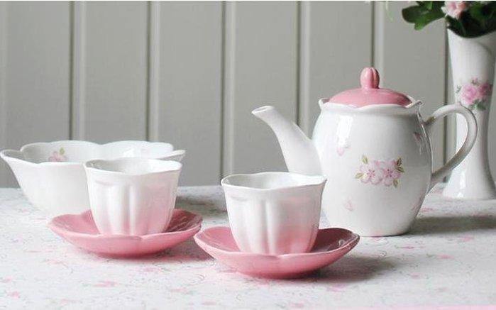 粉紅玫瑰精品屋~櫻花陶瓷 zakka英式下午茶花茶套裝~