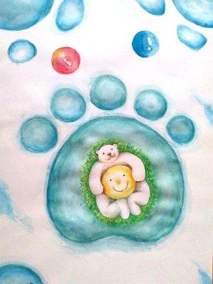 北極熊與月亮--雪印 水彩畫原作 26.5cmx38.5cm
