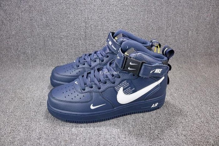 Nike Air Force1 AF1 深藍 經典 皮革 中幫 休閒滑板鞋 男鞋 804609-403