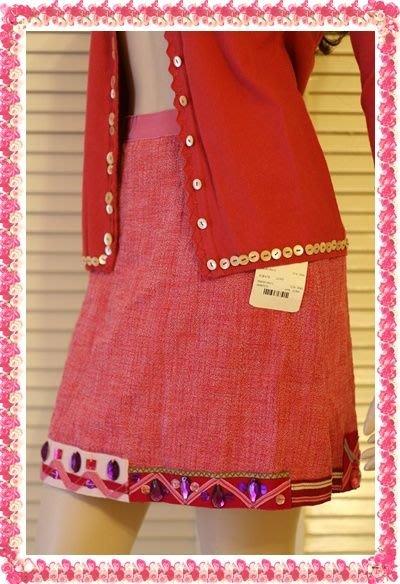 【MOSCHINO】全新真品大顆彩色寶石粉紅芭比風毛呢及膝裙原價$22300