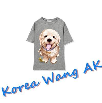 Korea Wang AK ~(預購)台灣原創獨家設計 美國100%純棉 限定版 小黃金獵犬寬T 三款【P025】