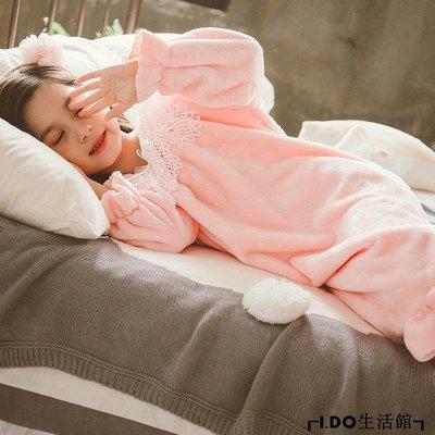 VR小鋪✿ 女童睡裙秋冬季公主風小女孩長袖法蘭絨睡衣珊瑚絨蕾絲家居服兒童寶寶K312G