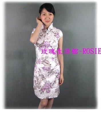 【演出show】~  古典紫~小包袖短旗袍(頂級提花棉),