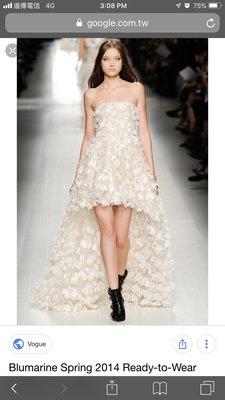 義大利真品 Blumarine runway 高級訂製秀款手工繡禮服洋裝 前短後長婚紗