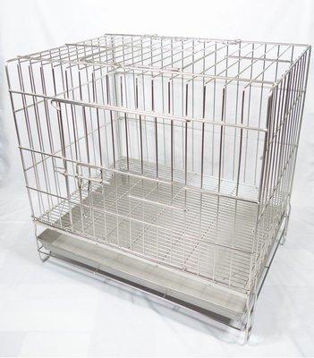 優比寵物*2尺固定式加粗專業用(304#級)(雙門上掀)(附抽取式加粗底網)不鏽鋼/不銹鋼白鐵兔籠/狗籠/寵物籠-台灣製