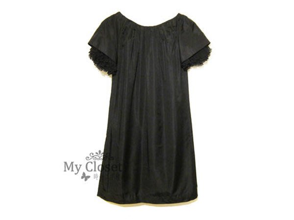 My Closet 二手名牌 GIAMBATTISTA VALLI 黑色多層次荷葉短袖 A LINE 絲質洋裝