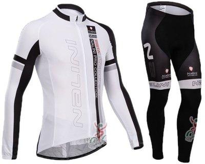 2014款NALINI 黑白長袖套裝新自行車衣 腳踏車衣新 騎行服 單車服 車衣車褲長套裝非刷毛款/保暖刷毛款