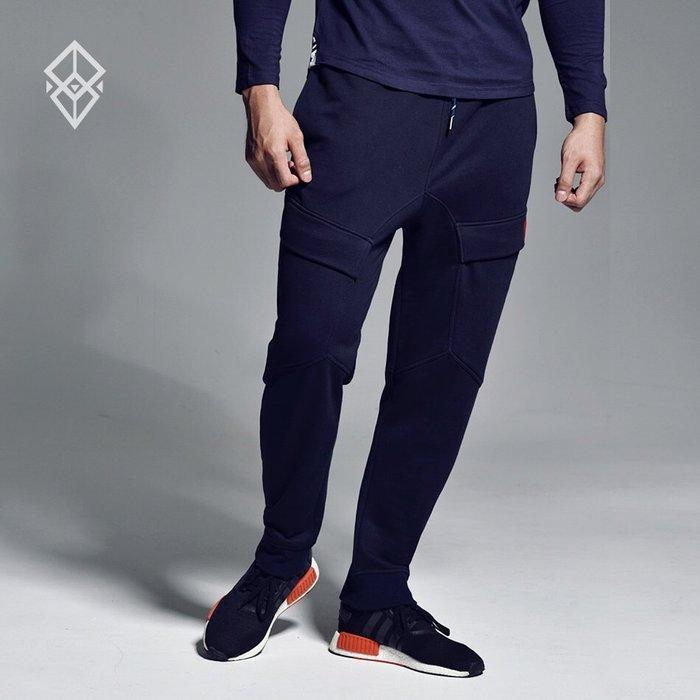 【OTOKO Men's Boutique】固制:有種部隊運動雙口袋修身縮口褲/深藍色