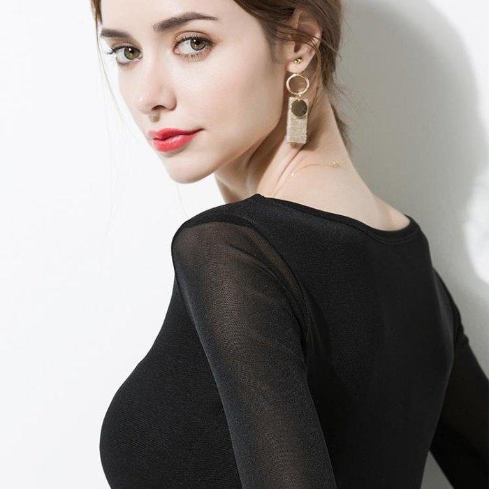 黑色打底衫長袖T恤女保暖小衫秋冬新款加絨加厚內搭網紗上衣
