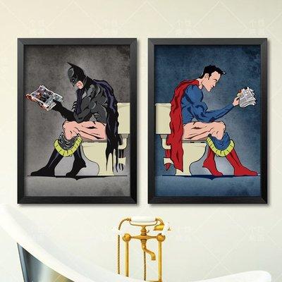 尼克卡樂斯~創意個性蝙蝠俠超人卡通有框畫 LOFT北歐風掛畫 漫威英雄畫