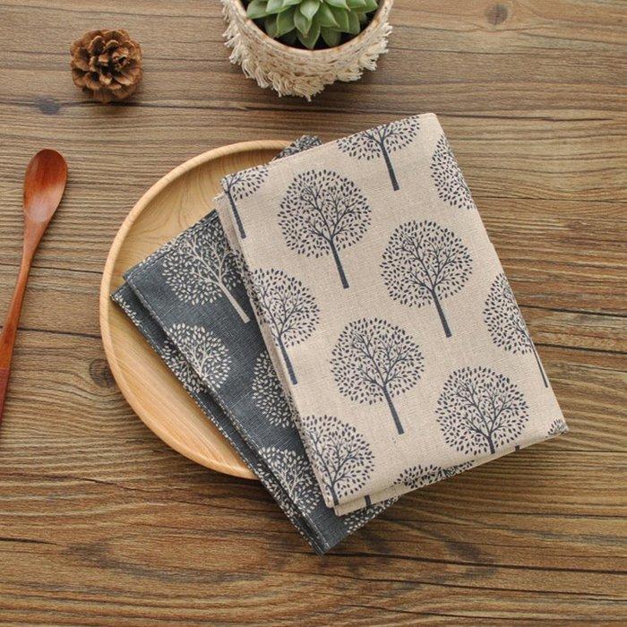 【愛麗絲生活家飾雜貨】 日式素雅雙層棉麻小樹圖案餐巾/隔熱墊/餐墊 拍照背景