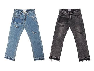 ~ POISON ~ LESS REPAIR DENIM JEANS 反覆破壞水洗 褲腳抽鬚 中窄版靴型丹寧褲