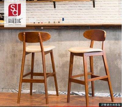『格倫雅』簡域實木吧臺椅子創意酒吧椅 歐式靠背吧椅簡約復古吧凳高腳凳子^1723