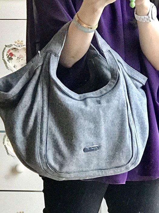 Agnes. b 灰色 毛料 毛呢 側背包+手提包