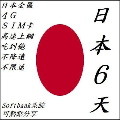 日本 6天/6日 全區 上網 4G SIM 網卡 吃到飽 不降速 不限速 wifi (附卡針) 插卡即用 免開通