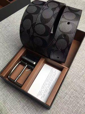 【紐約精品舖】COACH 64839 新款防刮皮革男士皮帶 C LOGO(寬版) 現貨 附紙盒 禮品袋 小票 全新 黑色