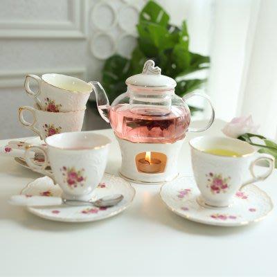 花茶茶具陶瓷玻璃套裝家用田園 歐式高檔奢侈耐熱玻璃加熱保溫