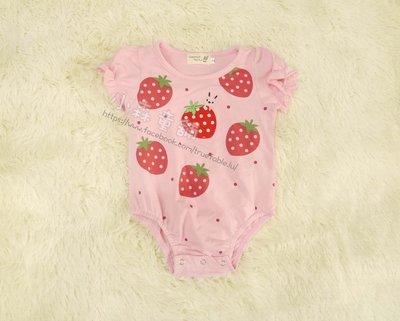 小森童舖 日系俏皮可愛風格 立體刺繡草莓 印刷草莓 粉紅色系 棉質包屁衣 連身衣 2.3.